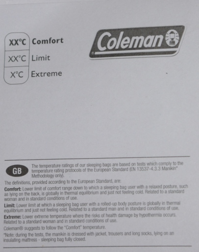 Coleman sleeping bag label